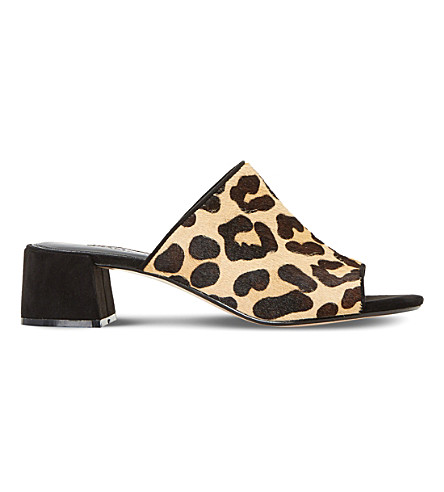 DUNE Mosco flare heeled mule sandal (Leopard-pony