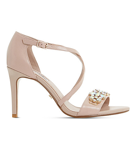 DUNE Marcela embellished leather sandals (Blush-leather