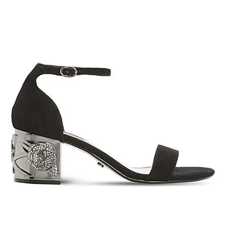 DUNE Maygo - rose embellished block heel sand (Black-suede