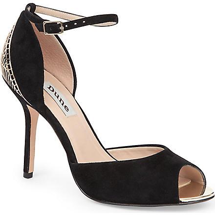 DUNE Heritage suede peep-toe sandals (Black-suede