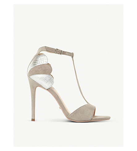 DUNE Mytho scallop-detail T-bar suede heeled sandals (Grey