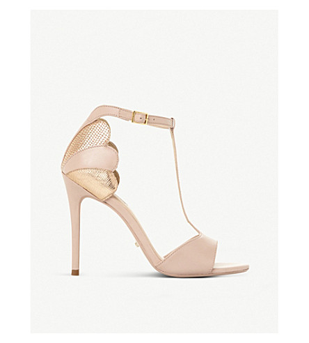 DUNE Mytho scallop-detail T-bar leather heeled sandals (Blush-suede