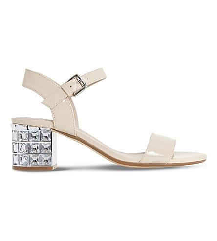 DUNE Harah jewelled block heel sandals (Nude-patent+synthetic
