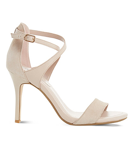 DUNE Madeleine leather and suede heeled sandals (Nude-reptile