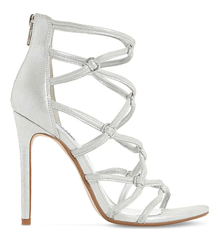 DUNE Memphiss multi-strap metallic leather heeled sandals (Silver-metallic
