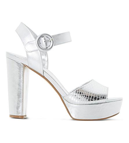 DUNE Monacco reptile effect sandals (Silver-reptile