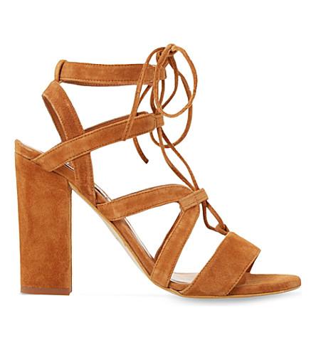 DUNE Marlow suede heeled sandals (Tan-suede
