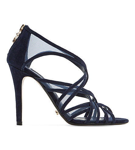 DUNE Media suede and mesh caged sandals (Navy-suede