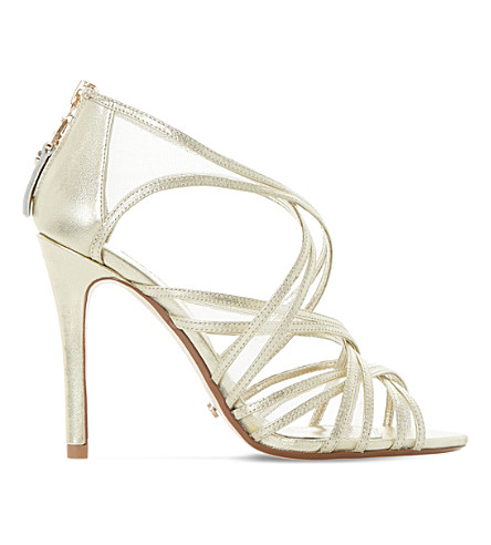 DUNE Media metallic leather and mesh caged sandals (Gold-leather