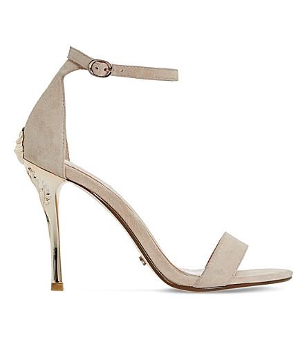 DUNE Midsummer rose-detail suede heeled sandals