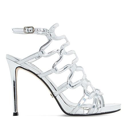 DUNE Meemie metallic caged high heel sandals