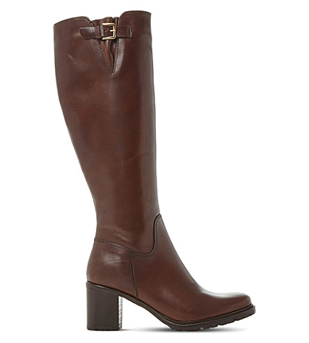 DUNE Todd cleated-sole leather boots (Brown-leather
