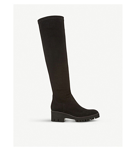 DUNE Valero suede knee-high flatform boots (Black