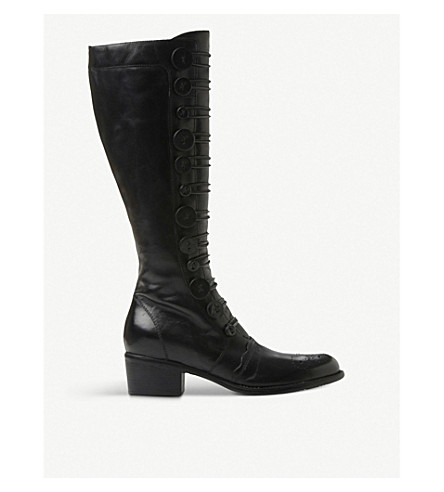 DUNE Pixie d leather knee-high boots (Black-leather