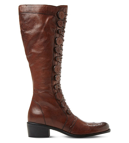 DUNE Pixie d leather knee-high boots (Tan-leather