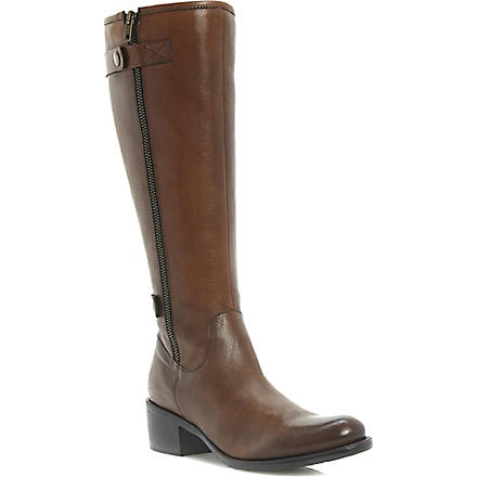 DUNE Teacher leather riding boots (Dark tan-leather