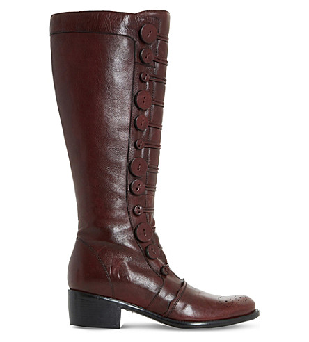 DUNE Pixie D button leather knee-high boots (Burgundy-leather