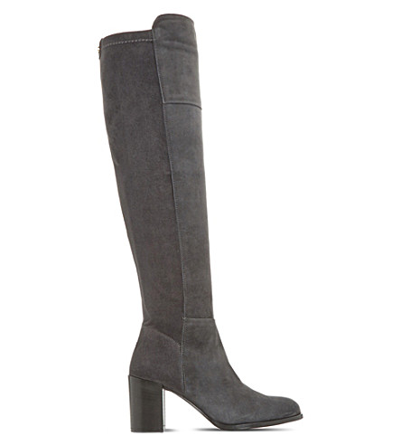 DUNE Tommy over-the-knee suede boots (Grey-suede