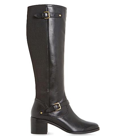 DUNE Vivvi 皮革膝高筒靴 (黑色皮革