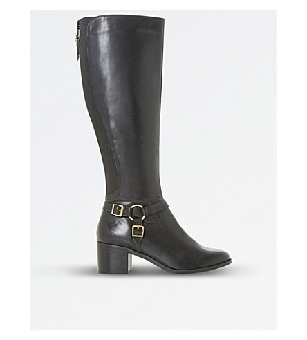 DUNE Vicky Harness leather knee-high boots (Black-leather