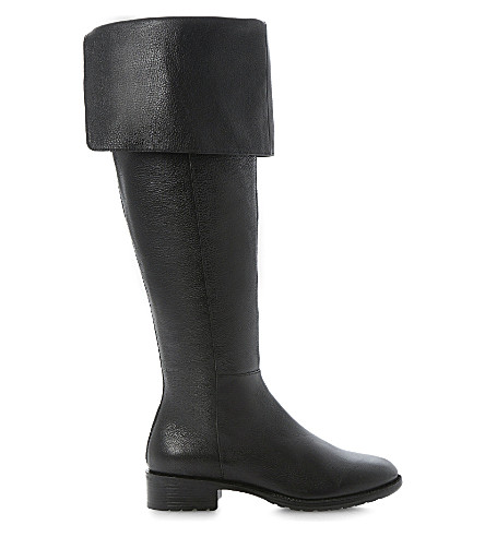 DUNE Torz over-the-knee leather boots (Black leather