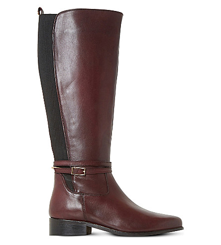 DUNE Taro buckled leather boots (Burgundy-leather