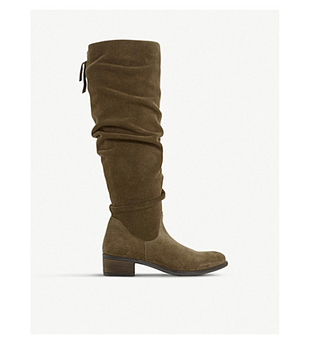 DUNE Tabatha ruched suede knee-high boots (Taupe-suede