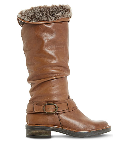 DUNE Torie ruched leather knee-high boots (Tan-leather