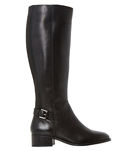 DUNE Vinny buckle-detail leather boots (Black-leather