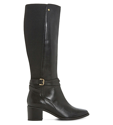 DUNE Vivv stretch panel knee-high leather boots (Black-leather