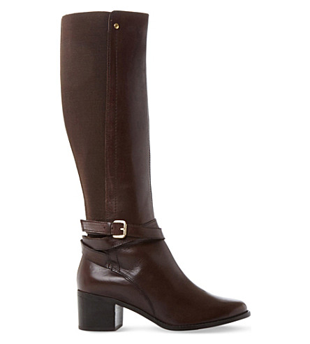 DUNE Vivv stretch panel knee-high leather boots (Brown-leather