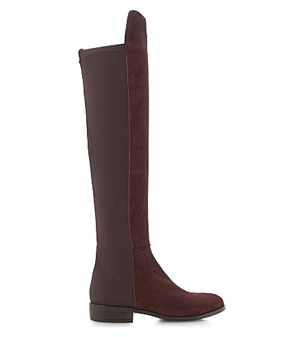 DUNE Trish over-the-knee suede boots (Burgundy-suede