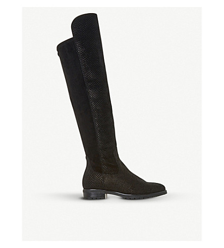 DUNE Tarrin stretch-panel over-the-knee boots (Black-embossed+leather