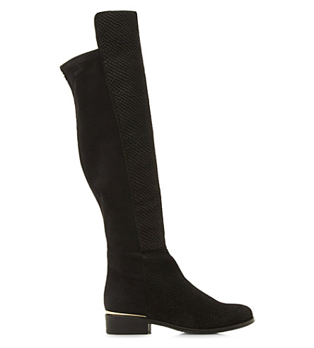 DUNE Trish Luxe leather over the knee boots (Black-reptile