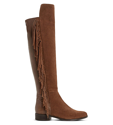 DUNE Trish Rodeo fringe-detail over-the-knee boots (Tan suede