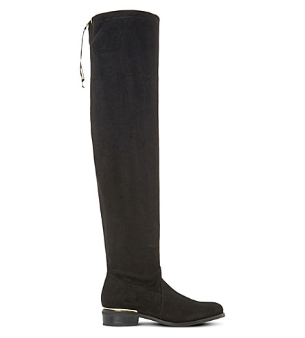 DUNE Taliah over-the-knee stretch-suede boots (Black-suede