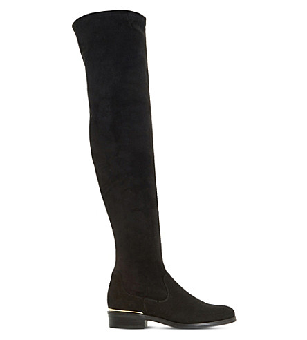 DUNE Taiya stretch-suede over-the-knee boots (Black-suede