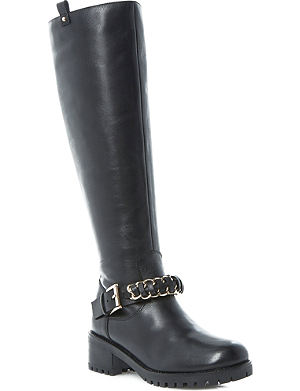 DUNE Taxi chain-detail leather boots