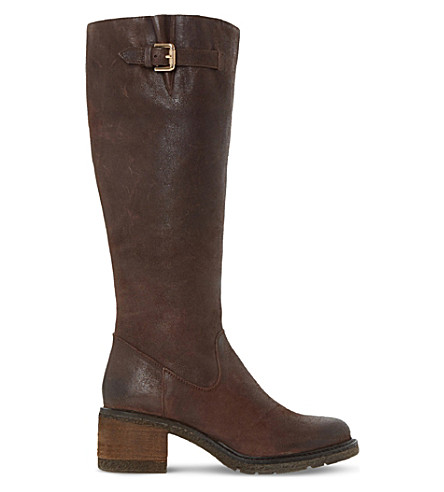 DUNE Tedmund knee-high distressed leather boots (Brown-leather
