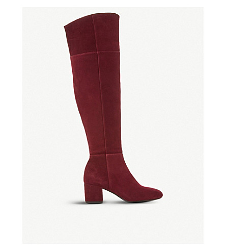 DUNE Spears knee high suede heeled boots (Burgundy-suede