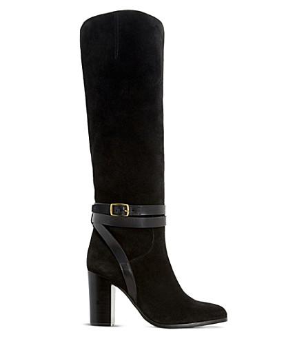 DUNE Sheena suede knee-high boots (Black suede