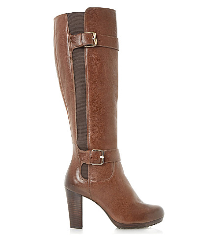 DUNE Social leather boots (Tan-leather