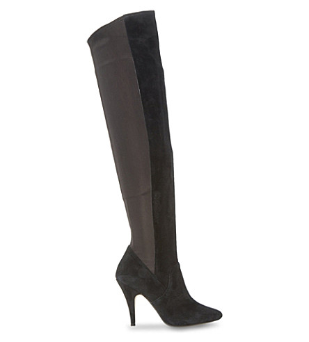 DUNE Stretchy over-the-knee suede boots (Black-suede