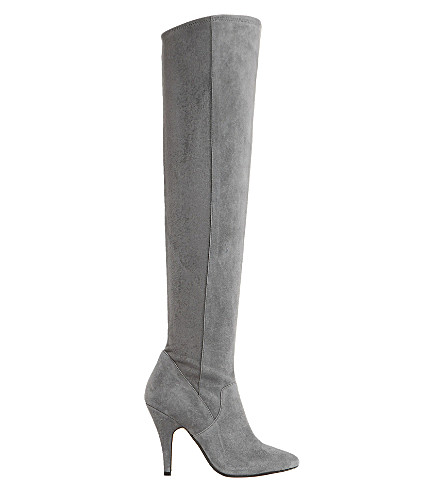 DUNE Stretchy suede over-the-knee boots (Grey-suede