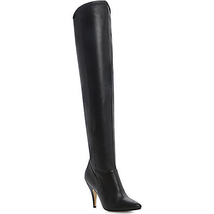 DUNE Stretchy leather over-the-knee boots (Black-leather