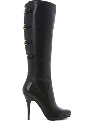 DUNE Snitch knee-high leather buckle boots