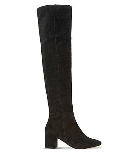 DUNE Samba suede over-the-knee boots (Black-suede