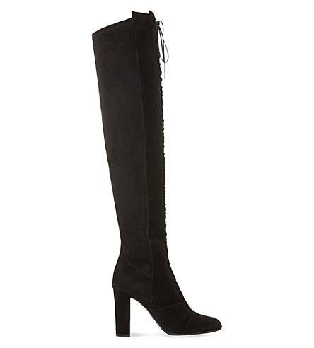 DUNE Scarlett laced suede over-the-knee boots (Black suede