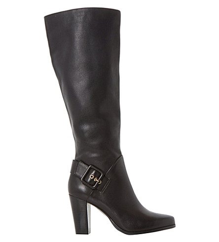 DUNE Sydney side buckle knee-high boots (Black-leather