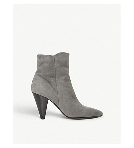 DUNE Odell suede cone-heel ankle boots (Grey-suede